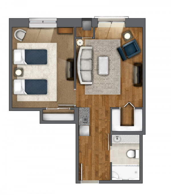 One Bedroom Suite (551 sq. ft.)