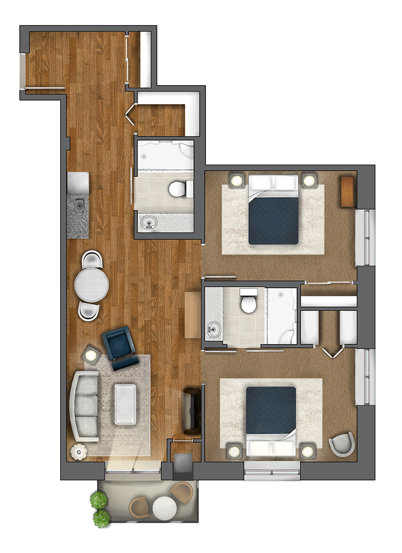 Two Bedroom Suite (857 sq. ft. + 35 sq. ft. ft. balcony)